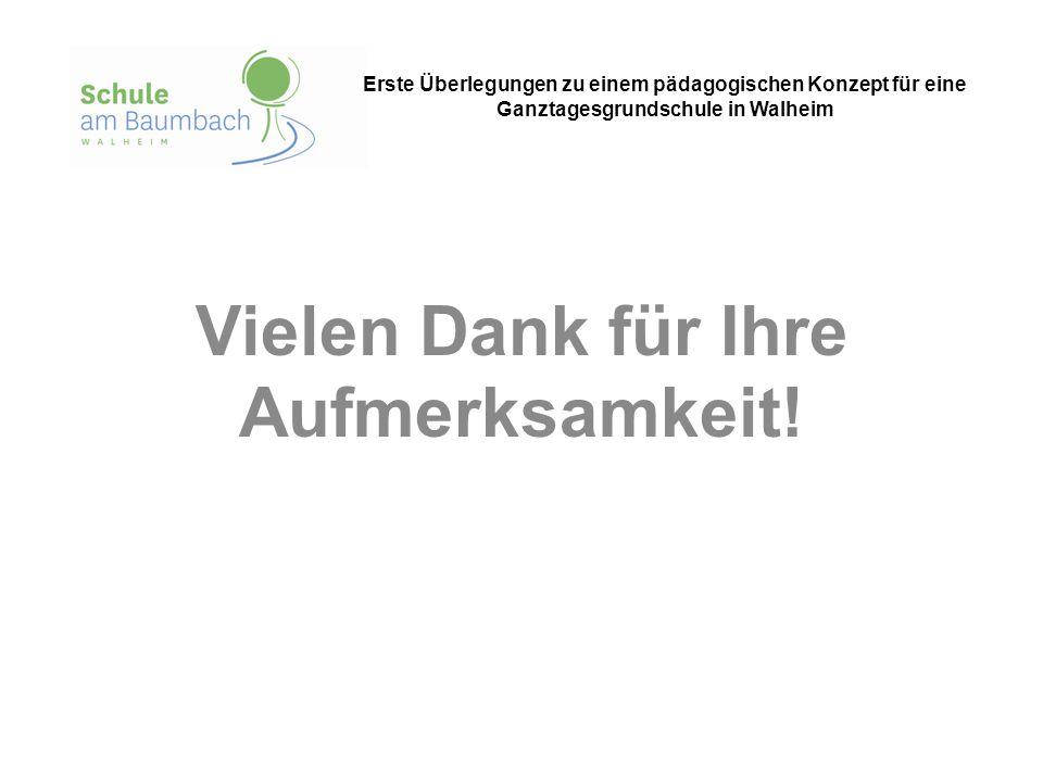 Vielen Dank für Ihre Aufmerksamkeit! Erste Überlegungen zu einem pädagogischen Konzept für eine Ganztagesgrundschule in Walheim