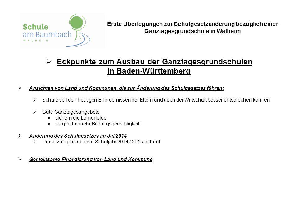  Eckpunkte zum Ausbau der Ganztagesgrundschulen in Baden-Württemberg  Ansichten von Land und Kommunen, die zur Änderung des Schulgesetzes führen: 