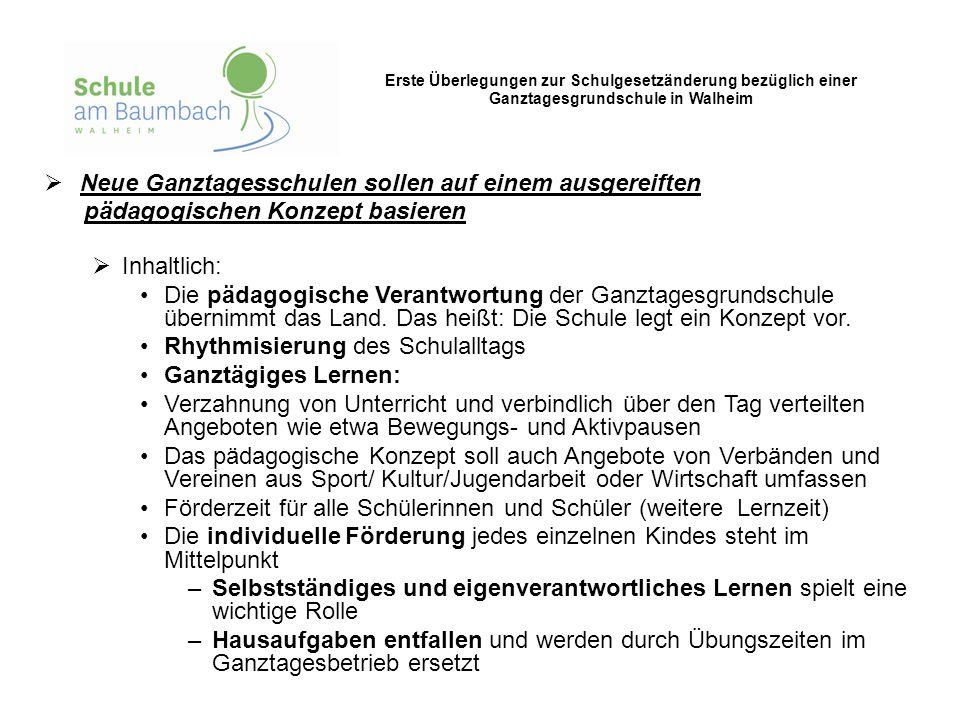 Erste Überlegungen zur Schulgesetzänderung bezüglich einer Ganztagesgrundschule in Walheim  Neue Ganztagesschulen sollen auf einem ausgereiften pädag