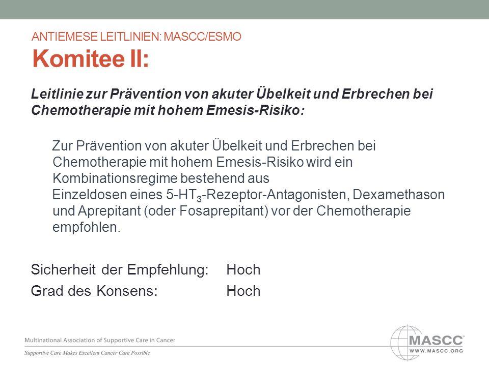 Leitlinie zur Prävention von akuter Übelkeit und Erbrechen bei Chemotherapie mit hohem Emesis-Risiko: Zur Prävention von akuter Übelkeit und Erbrechen