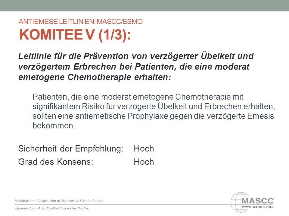 Leitlinie für die Prävention von verzögerter Übelkeit und verzögertem Erbrechen bei Patienten, die eine moderat emetogene Chemotherapie erhalten: Pati