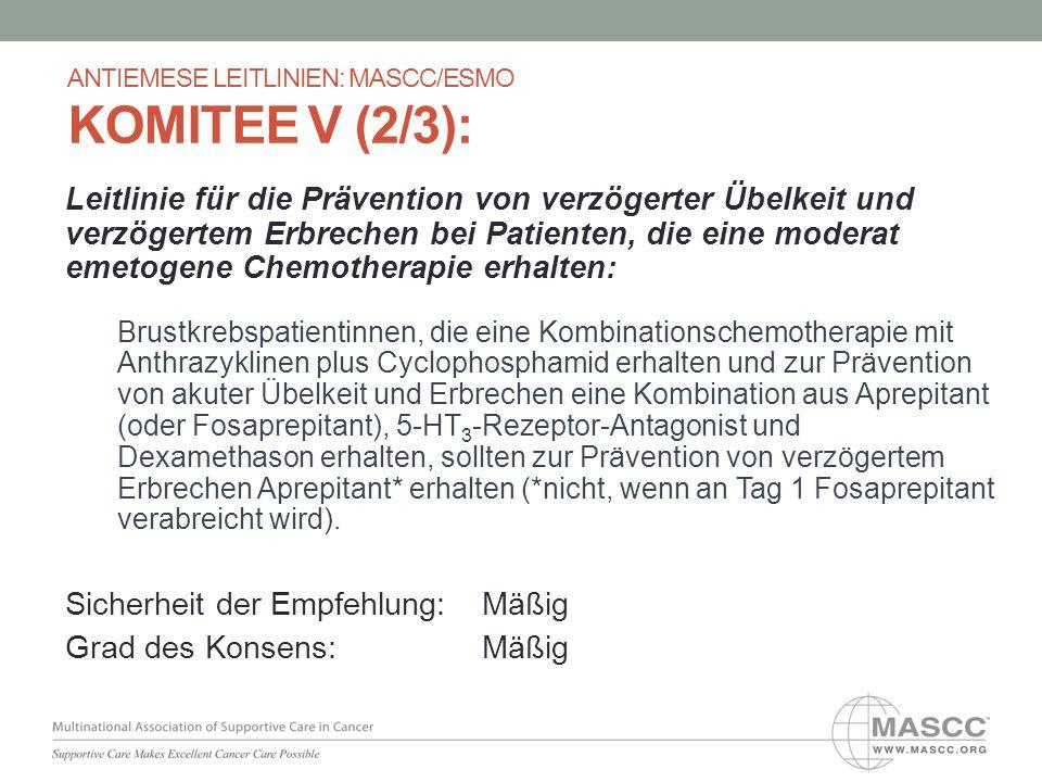 Leitlinie für die Prävention von verzögerter Übelkeit und verzögertem Erbrechen bei Patienten, die eine moderat emetogene Chemotherapie erhalten: Brus