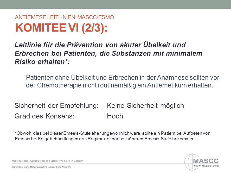 Leitlinie für die Prävention von akuter Übelkeit und Erbrechen bei Patienten, die Substanzen mit minimalem Risiko erhalten*: Patienten ohne Übelkeit u