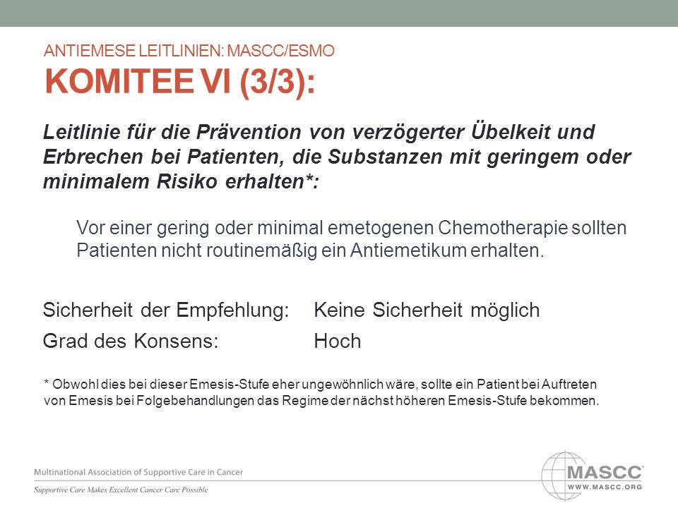 Leitlinie für die Prävention von verzögerter Übelkeit und Erbrechen bei Patienten, die Substanzen mit geringem oder minimalem Risiko erhalten*: Vor ei