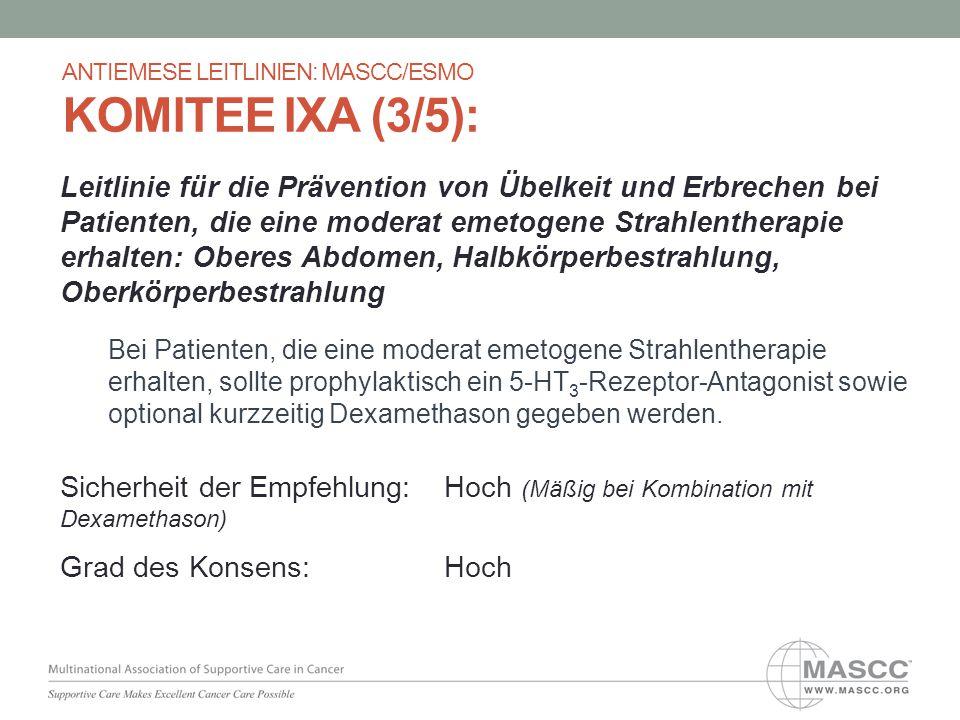 Leitlinie für die Prävention von Übelkeit und Erbrechen bei Patienten, die eine moderat emetogene Strahlentherapie erhalten: Oberes Abdomen, Halbkörpe