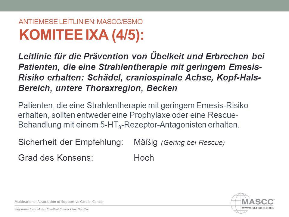 Leitlinie für die Prävention von Übelkeit und Erbrechen bei Patienten, die eine Strahlentherapie mit geringem Emesis- Risiko erhalten: Schädel, cranio