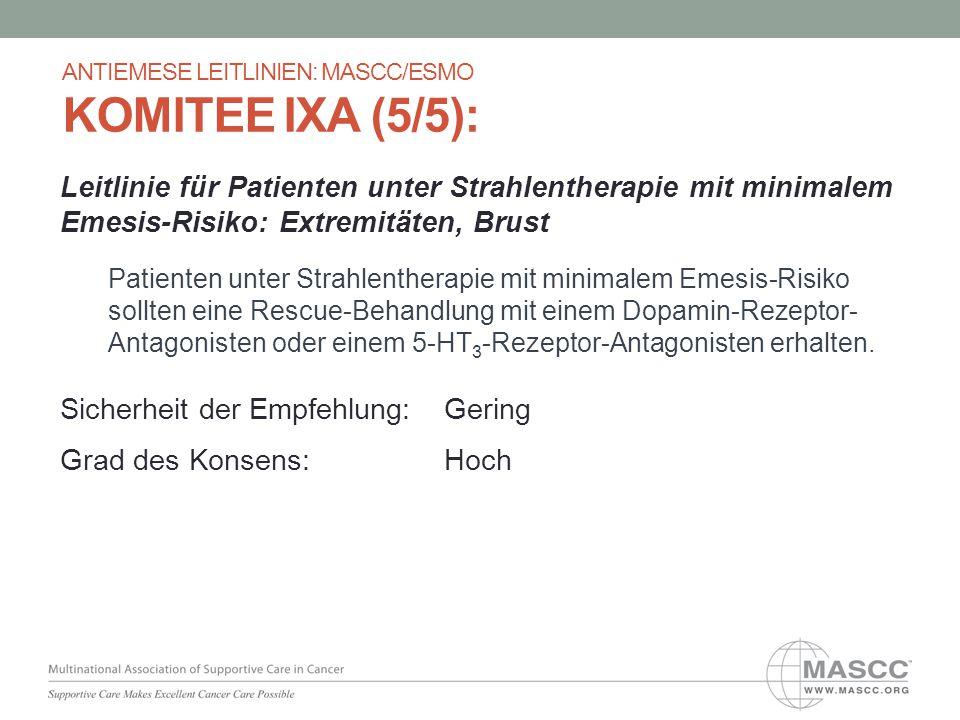 Leitlinie für Patienten unter Strahlentherapie mit minimalem Emesis-Risiko: Extremitäten, Brust Patienten unter Strahlentherapie mit minimalem Emesis-