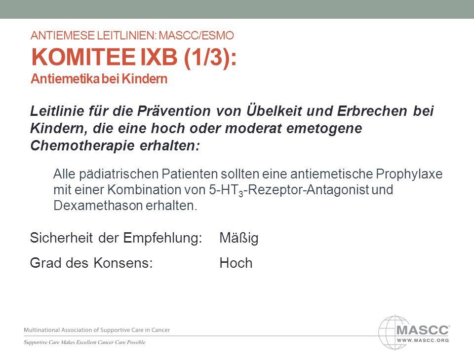Leitlinie für die Prävention von Übelkeit und Erbrechen bei Kindern, die eine hoch oder moderat emetogene Chemotherapie erhalten: Alle pädiatrischen P