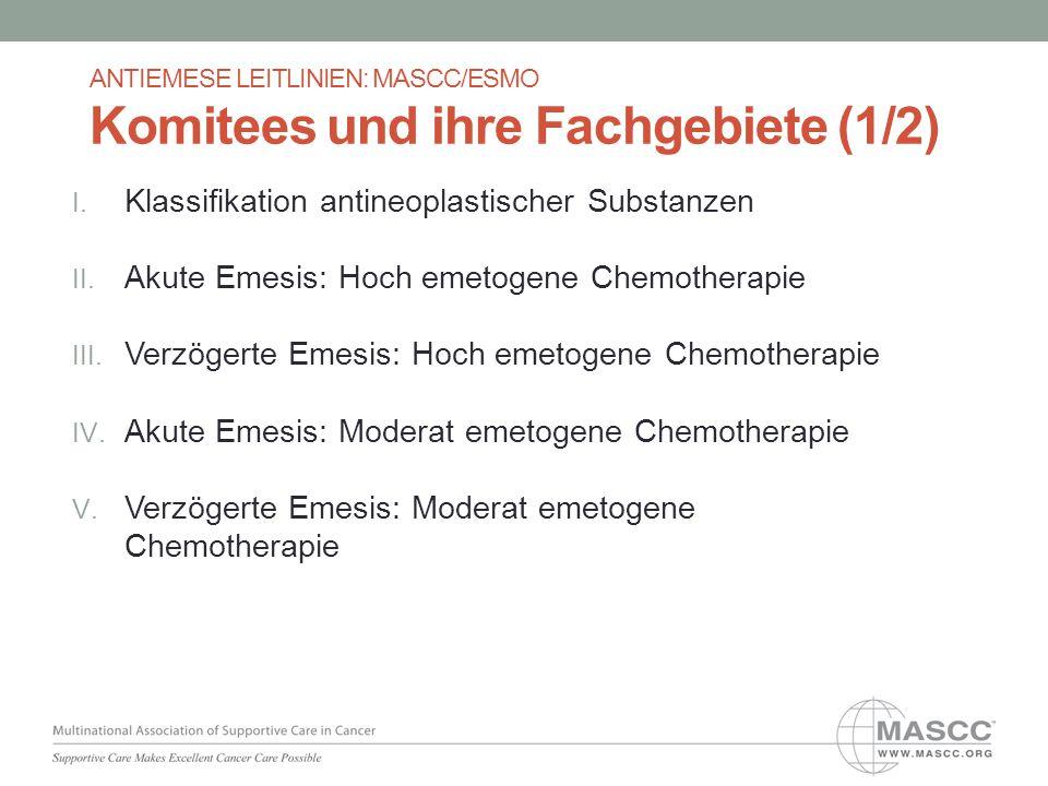 Leitlinie zur Prävention von akuter Übelkeit und Erbrechen bei Chemotherapie mit moderatem Emesis-Risiko: Bei Patienten, die eine mäßig emetogene Chemotherapie - ohne eine Kombination von Anthrazyklinen plus Cyclophosphamid - erhalten, wird zur Prophylaxe von akuter Übelkeit und Erbrechen die Gabe von Palonosetron plus Dexamethason empfohlen.