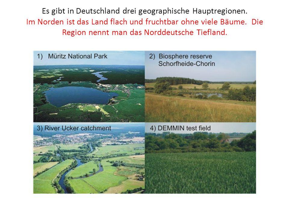 Es gibt in Deutschland drei geographische Hauptregionen. Im Norden ist das Land flach und fruchtbar ohne viele Bäume. Die Region nennt man das Norddeu
