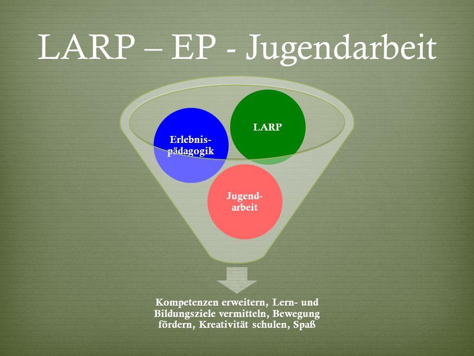 LARP – EP - Jugendarbeit Kompetenzen erweitern, Lern- und Bildungsziele vermitteln, Bewegung fördern, Kreativität schulen, Spaß Jugend- arbeit Erlebnis- pädagogik LARP