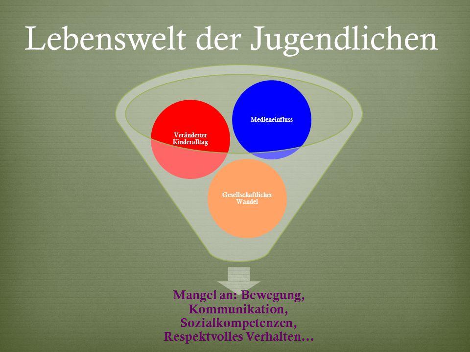 Lebenswelt der Jugendlichen Mangel an: Bewegung, Kommunikation, Sozialkompetenzen, Respektvolles Verhalten...