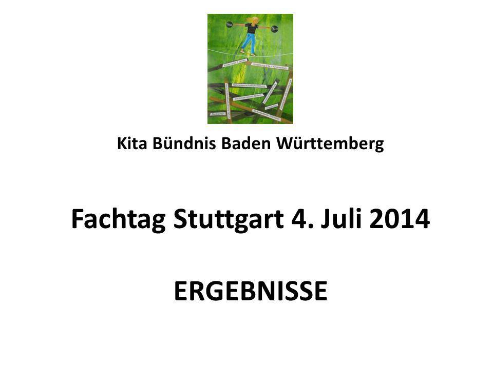 Kita Bündnis Baden Württemberg Fachtag Stuttgart 4. Juli 2014 ERGEBNISSE