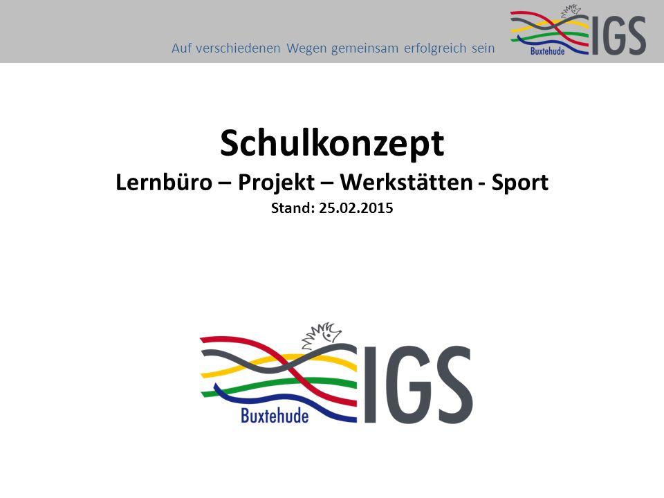 Schulkonzept Lernbüro – Projekt – Werkstätten - Sport Stand: 25.02.2015 Auf verschiedenen Wegen gemeinsam erfolgreich sein