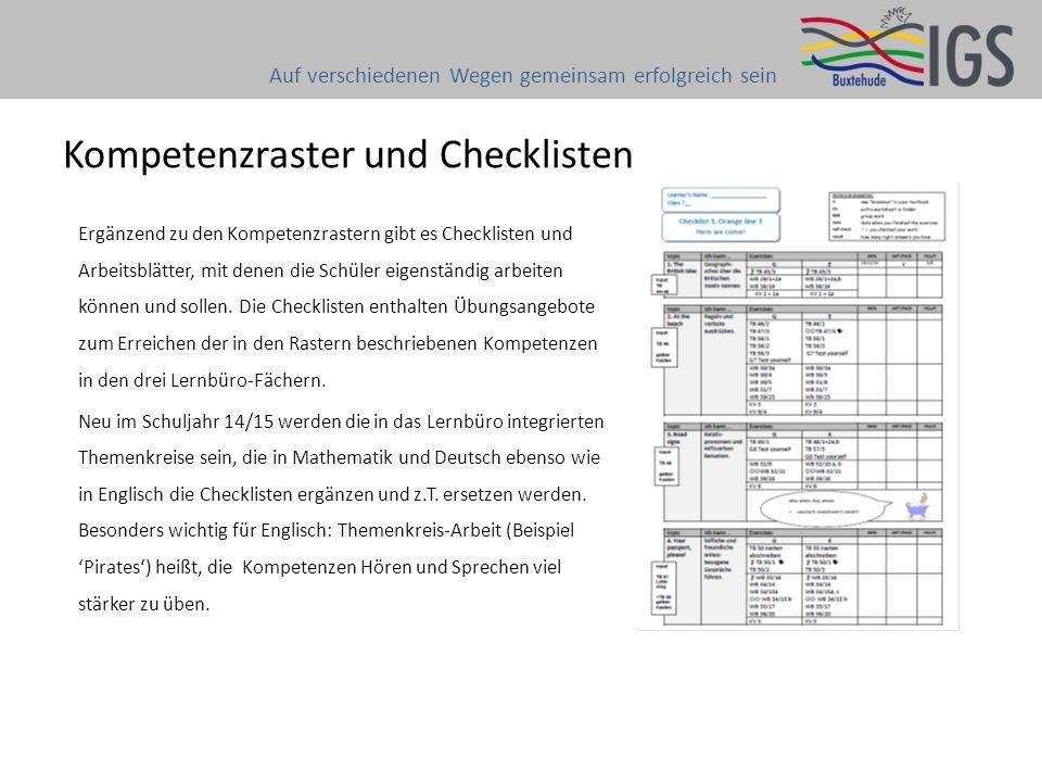 Ergänzend zu den Kompetenzrastern gibt es Checklisten und Arbeitsblätter, mit denen die Schüler eigenständig arbeiten können und sollen. Die Checklist