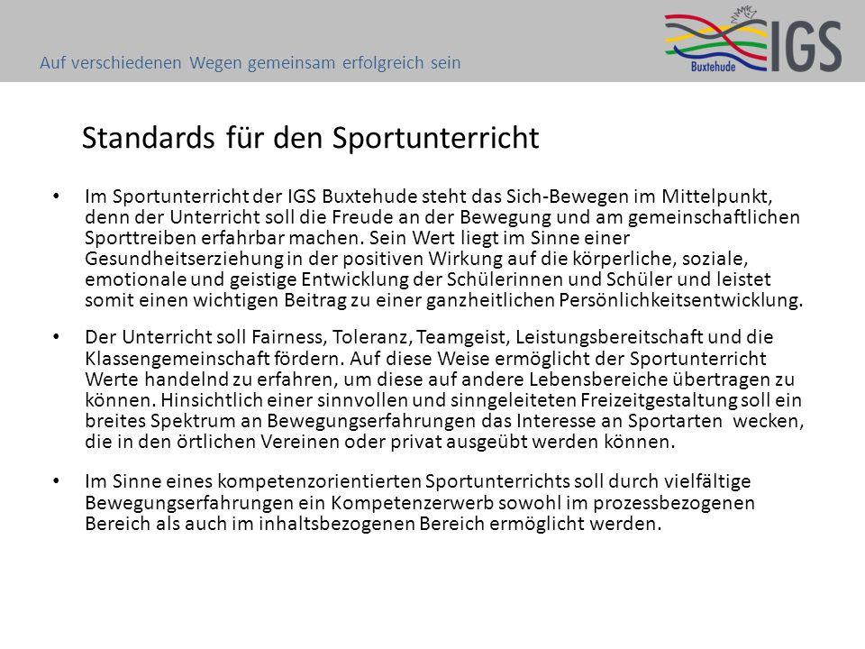 Standards für den Sportunterricht Im Sportunterricht der IGS Buxtehude steht das Sich-Bewegen im Mittelpunkt, denn der Unterricht soll die Freude an d