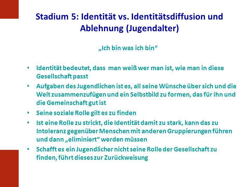 """Stadium 5: Identität vs. Identitätsdiffusion und Ablehnung (Jugendalter) """"Ich bin was ich bin"""" Identität bedeutet, dass man weiß wer man ist, wie man"""