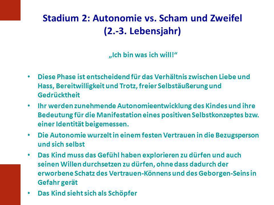 """Stadium 2: Autonomie vs. Scham und Zweifel (2.-3. Lebensjahr) """"Ich bin was ich will!"""" Diese Phase ist entscheidend für das Verhältnis zwischen Liebe u"""