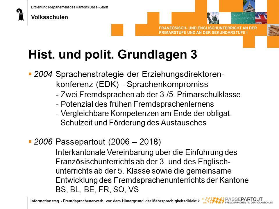 Erziehungsdepartement des Kantons Basel-Stadt Volksschulen Informationstag - Fremdsprachenerwerb vor dem Hintergrund der Mehrsprachigkeitsdidaktik Hist.