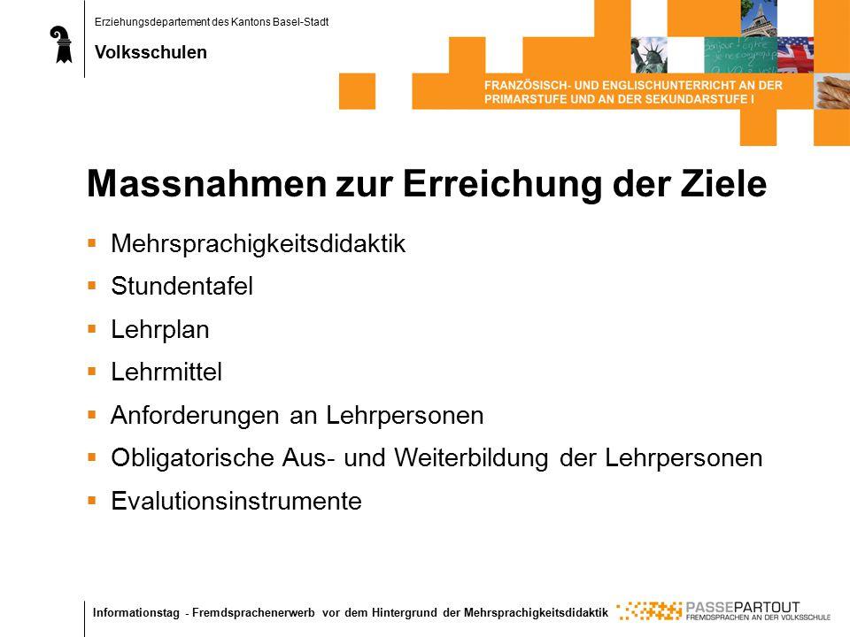 Erziehungsdepartement des Kantons Basel-Stadt Volksschulen Informationstag - Fremdsprachenerwerb vor dem Hintergrund der Mehrsprachigkeitsdidaktik Mas