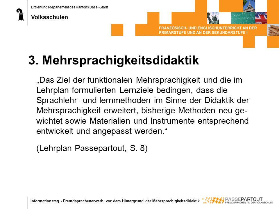 Erziehungsdepartement des Kantons Basel-Stadt Volksschulen Informationstag - Fremdsprachenerwerb vor dem Hintergrund der Mehrsprachigkeitsdidaktik 3.