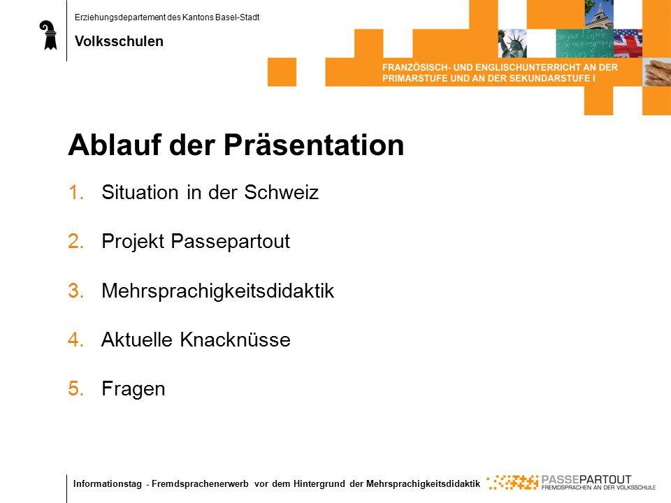 Erziehungsdepartement des Kantons Basel-Stadt Volksschulen Informationstag - Fremdsprachenerwerb vor dem Hintergrund der Mehrsprachigkeitsdidaktik Abl