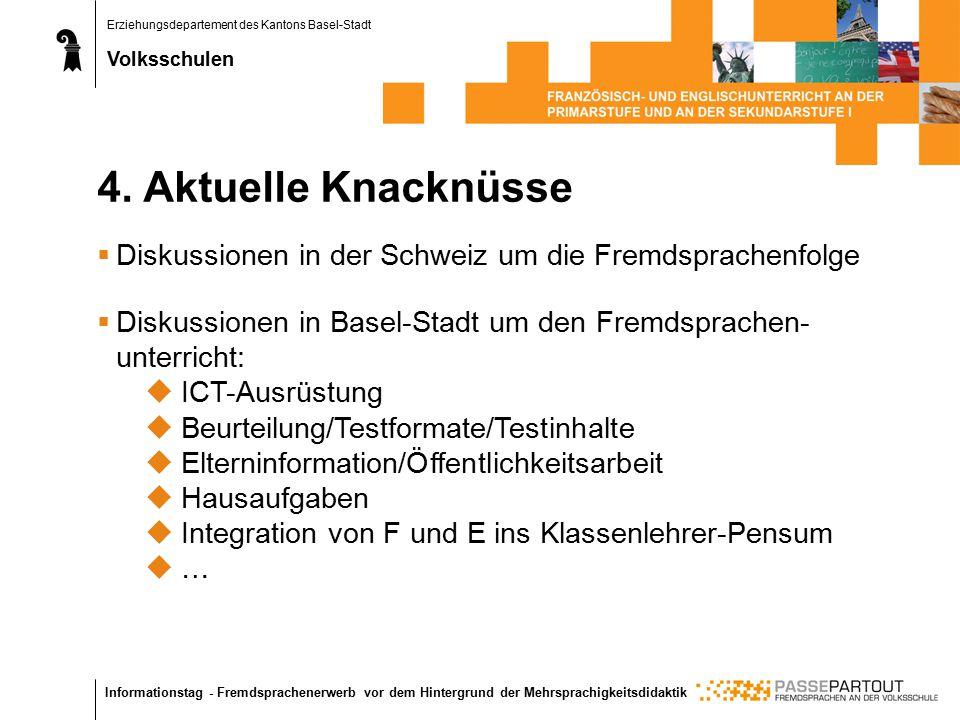 Erziehungsdepartement des Kantons Basel-Stadt Volksschulen Informationstag - Fremdsprachenerwerb vor dem Hintergrund der Mehrsprachigkeitsdidaktik 4.