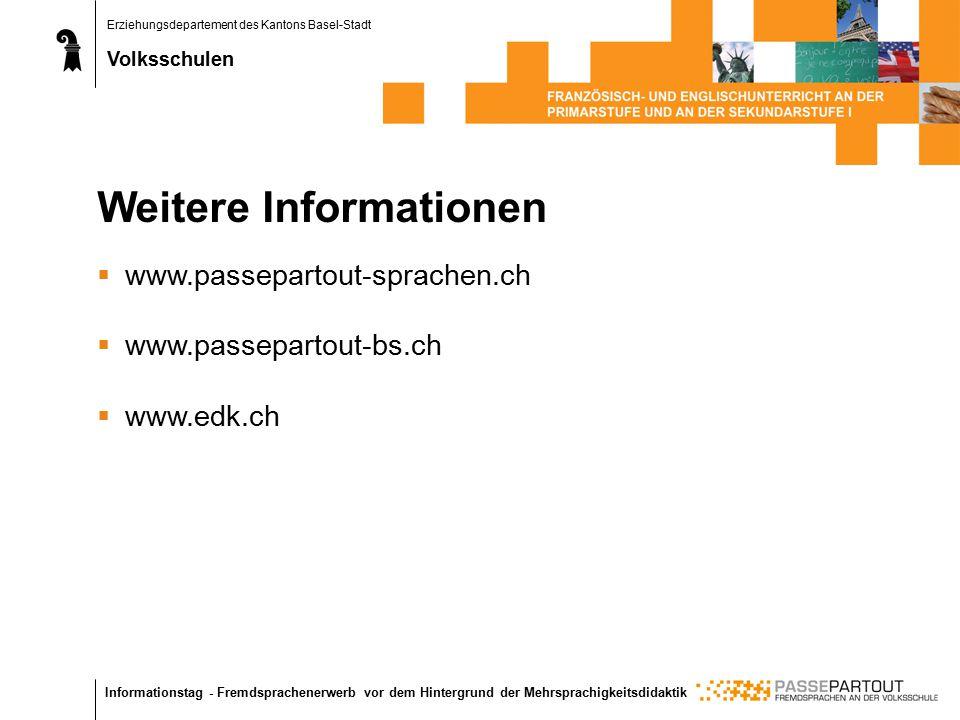 Erziehungsdepartement des Kantons Basel-Stadt Volksschulen Informationstag - Fremdsprachenerwerb vor dem Hintergrund der Mehrsprachigkeitsdidaktik Weitere Informationen  www.passepartout-sprachen.ch  www.passepartout-bs.ch  www.edk.ch