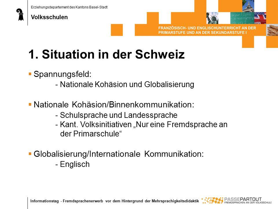 Erziehungsdepartement des Kantons Basel-Stadt Volksschulen Informationstag - Fremdsprachenerwerb vor dem Hintergrund der Mehrsprachigkeitsdidaktik 1.