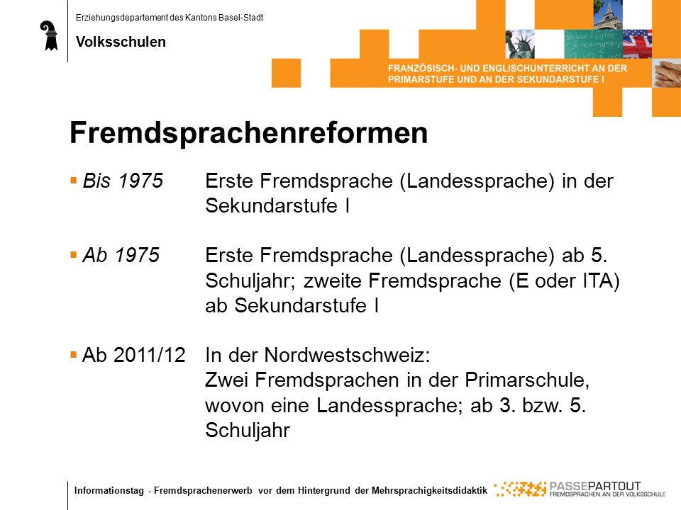 Erziehungsdepartement des Kantons Basel-Stadt Volksschulen Informationstag - Fremdsprachenerwerb vor dem Hintergrund der Mehrsprachigkeitsdidaktik Fre