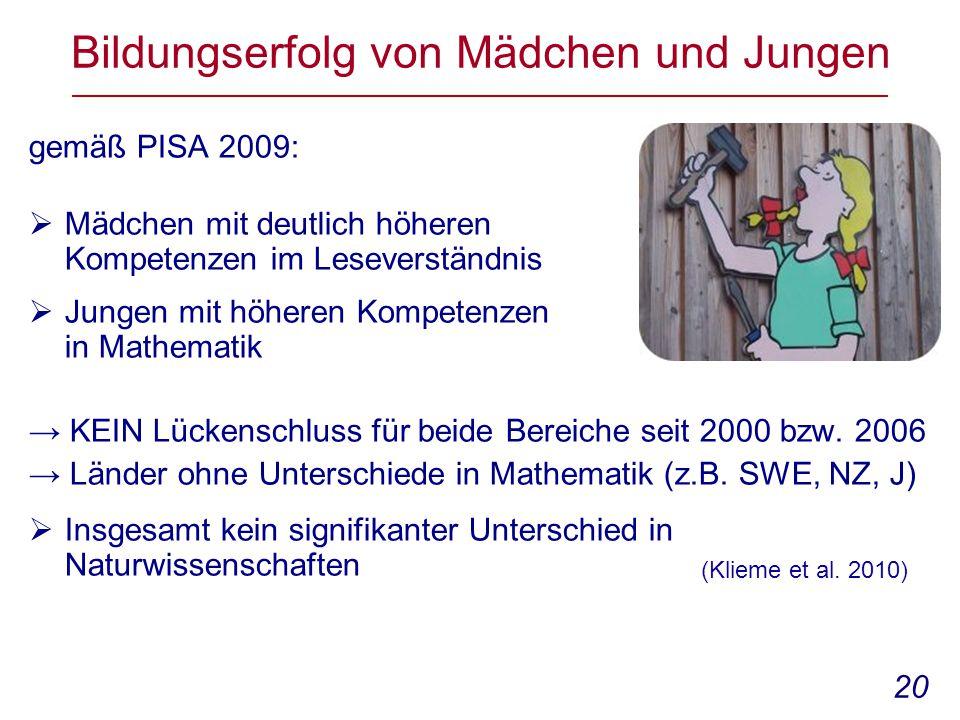 20 Bildungserfolg von Mädchen und Jungen gemäß PISA 2009:  Mädchen mit deutlich höheren Kompetenzen im Leseverständnis  Jungen mit höheren Kompetenzen in Mathematik → KEIN Lückenschluss für beide Bereiche seit 2000 bzw.