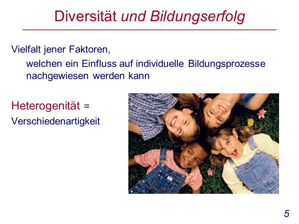 5 Diversität und Bildungserfolg Vielfalt jener Faktoren, welchen ein Einfluss auf individuelle Bildungsprozesse nachgewiesen werden kann Heterogenität = Verschiedenartigkeit