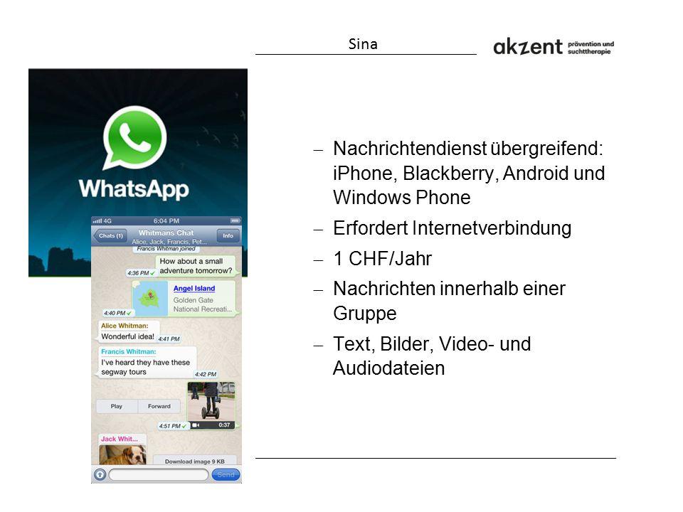  Nachrichtendienst übergreifend: iPhone, Blackberry, Android und Windows Phone  Erfordert Internetverbindung  1 CHF/Jahr  Nachrichten innerhalb ei