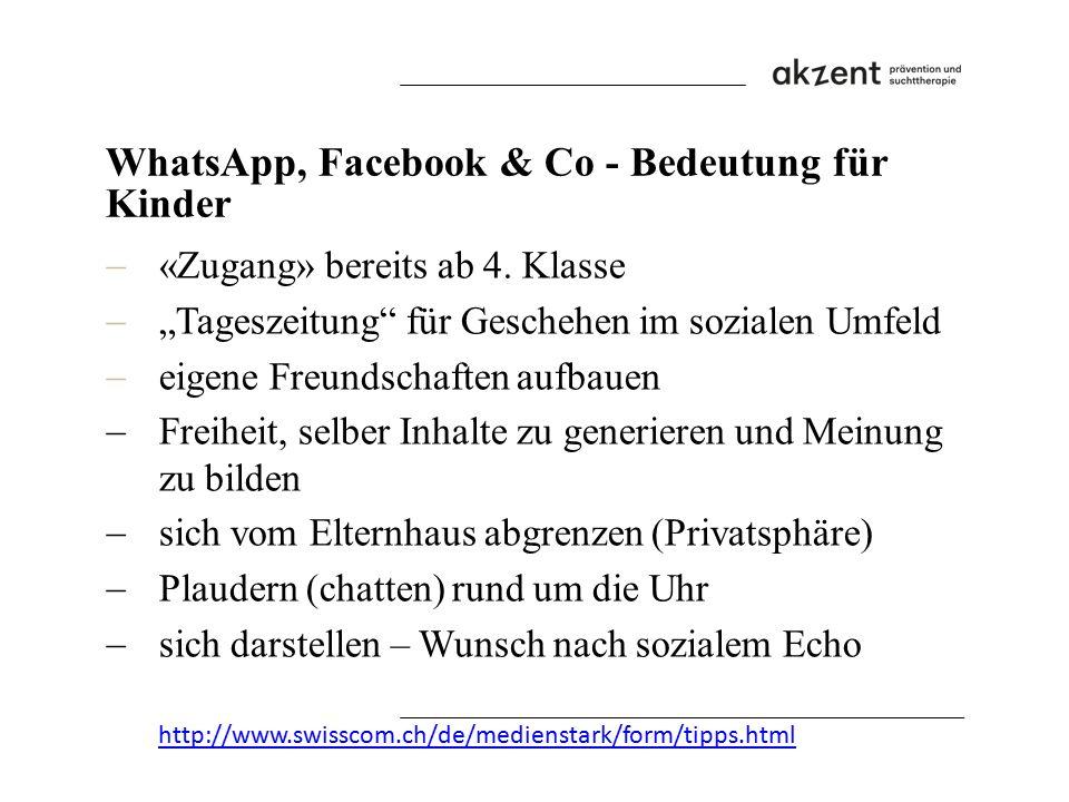 """WhatsApp, Facebook & Co - Bedeutung für Kinder  «Zugang» bereits ab 4. Klasse  """"Tageszeitung"""" für Geschehen im sozialen Umfeld  eigene Freundschaft"""