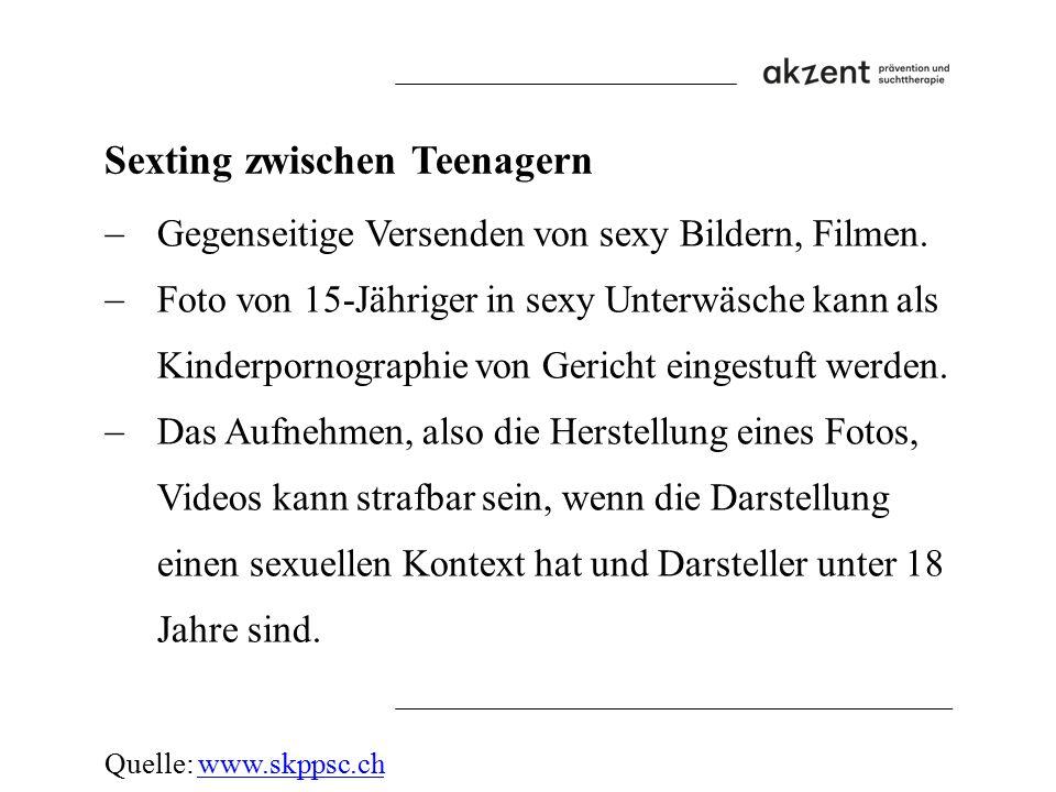 Sexting zwischen Teenagern  Gegenseitige Versenden von sexy Bildern, Filmen.  Foto von 15-Jähriger in sexy Unterwäsche kann als Kinderpornographie v