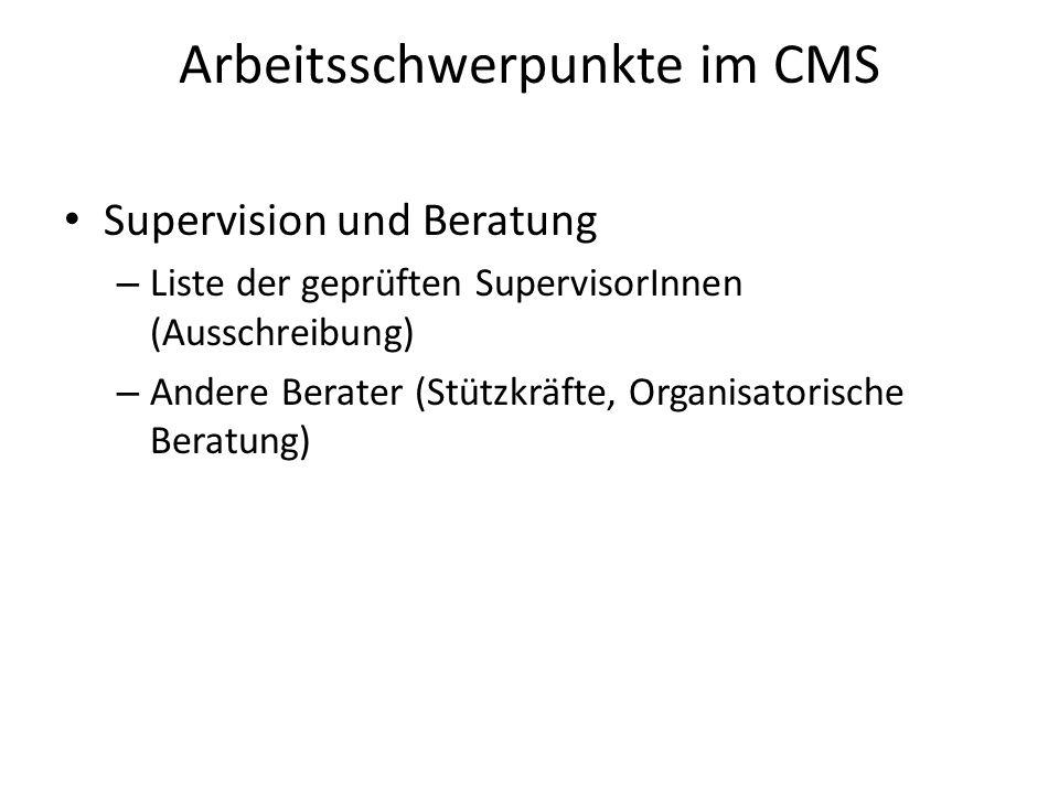 Arbeitsschwerpunkte im CMS Supervision und Beratung – Liste der geprüften SupervisorInnen (Ausschreibung) – Andere Berater (Stützkräfte, Organisatorische Beratung)