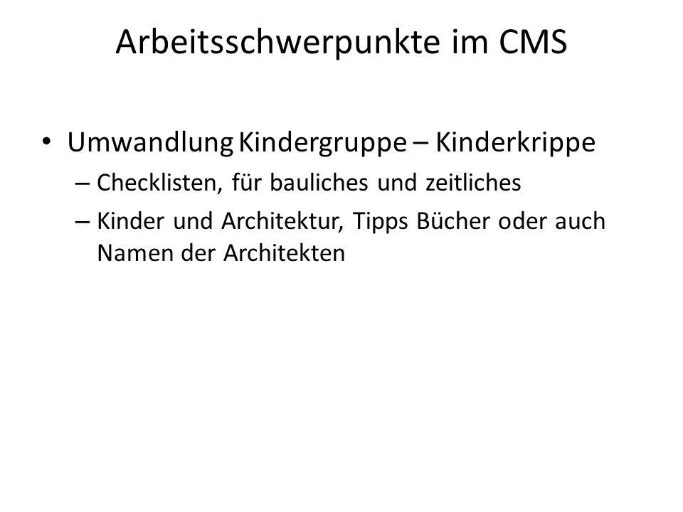 Arbeitsschwerpunkte im CMS Umwandlung Kindergruppe – Kinderkrippe – Checklisten, für bauliches und zeitliches – Kinder und Architektur, Tipps Bücher oder auch Namen der Architekten