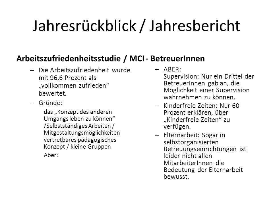 """Jahresrückblick / Jahresbericht Arbeitszufriedenheitsstudie / MCI – Die Arbeitszufriedenheit wurde mit 96,6 Prozent als """"vollkommen zufrieden bewertet."""