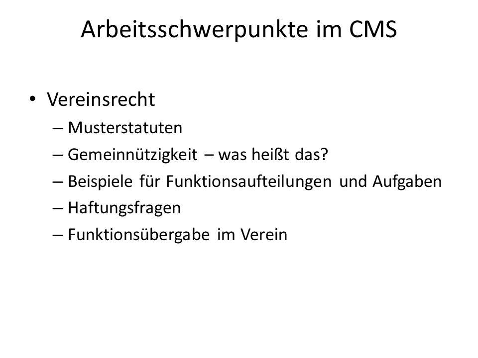 Arbeitsschwerpunkte im CMS Vereinsrecht – Musterstatuten – Gemeinnützigkeit – was heißt das.