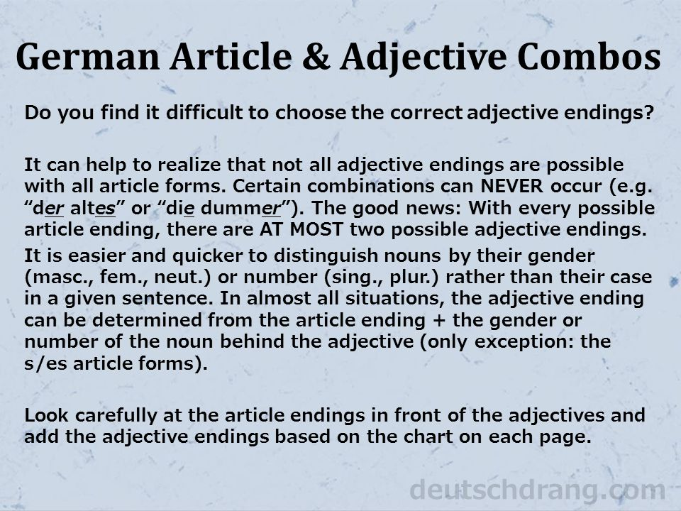 German Article & Adjective Combos Do you find it difficult to choose the correct adjective endings.