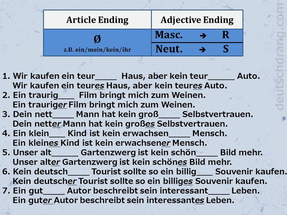 Article EndingAdjective Ending Ø z.B. ein/mein/kein/ihr Masc.  R Neut.  S 1. Wir kaufen ein teur____ Haus, aber kein teur_____ Auto. Wir kaufen ein