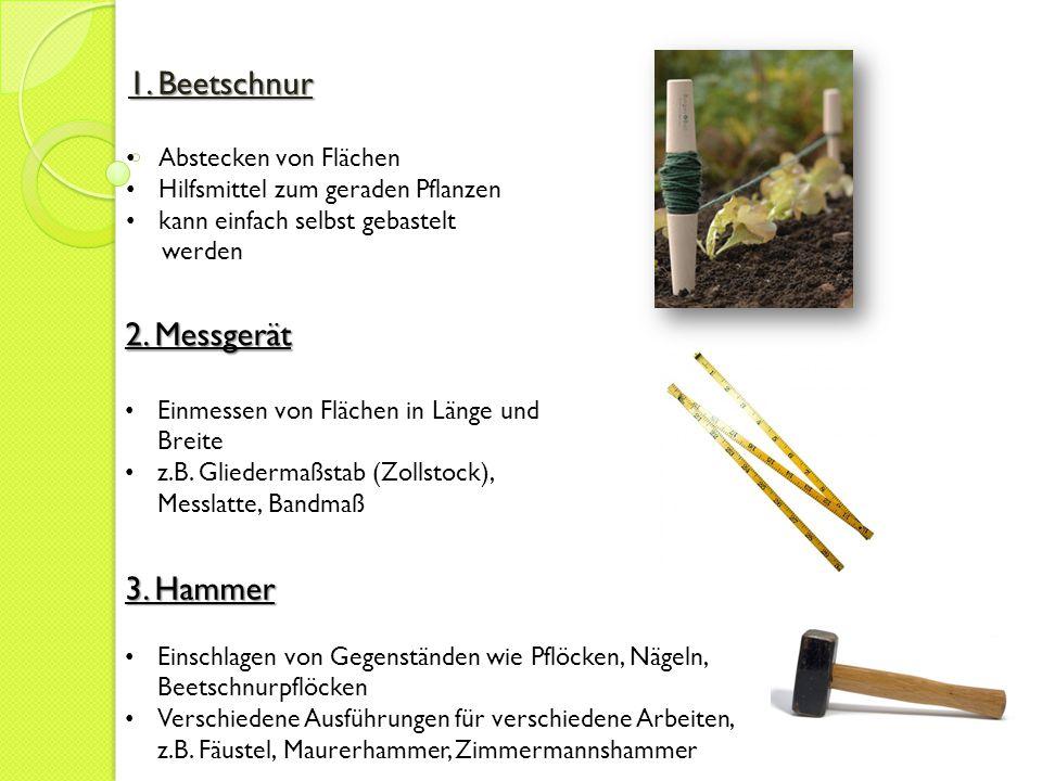 1. Beetschnur Abstecken von Flächen Hilfsmittel zum geraden Pflanzen kann einfach selbst gebastelt werden 2. Messgerät Einmessen von Flächen in Länge