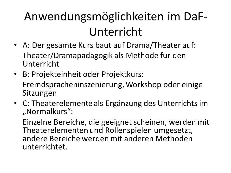 Anwendungsmöglichkeiten im DaF- Unterricht A: Der gesamte Kurs baut auf Drama/Theater auf: Theater/Dramapädagogik als Methode für den Unterricht B: Pr