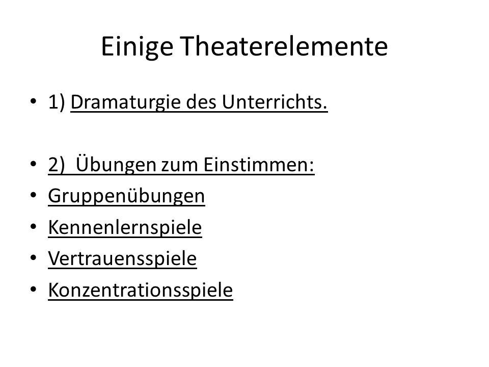 Einige Theaterelemente 3) Sprechübungen (Theatereinheiten geben oft den Grund/Anlass) für Atemübungen, Übungen zu Stimmklang, Emotionen Übungen zu Satzbetonungen Artikulationsübungen Spontanes Sprechen