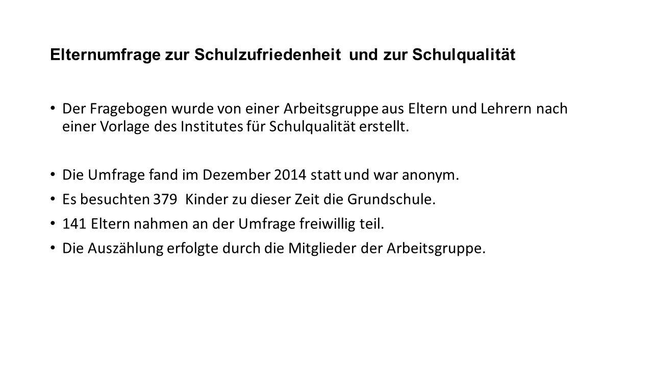 Elternumfrage zur Schulzufriedenheit und zur Schulqualität Der Fragebogen wurde von einer Arbeitsgruppe aus Eltern und Lehrern nach einer Vorlage des Institutes für Schulqualität erstellt.