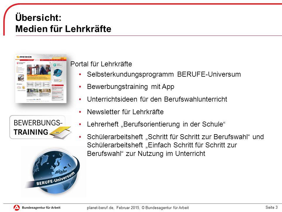 Seite 3 planet-beruf.de, Februar 2015, © Bundesagentur für Arbeit Übersicht: Medien für Lehrkräfte Portal für Lehrkräfte Selbsterkundungsprogramm BERU