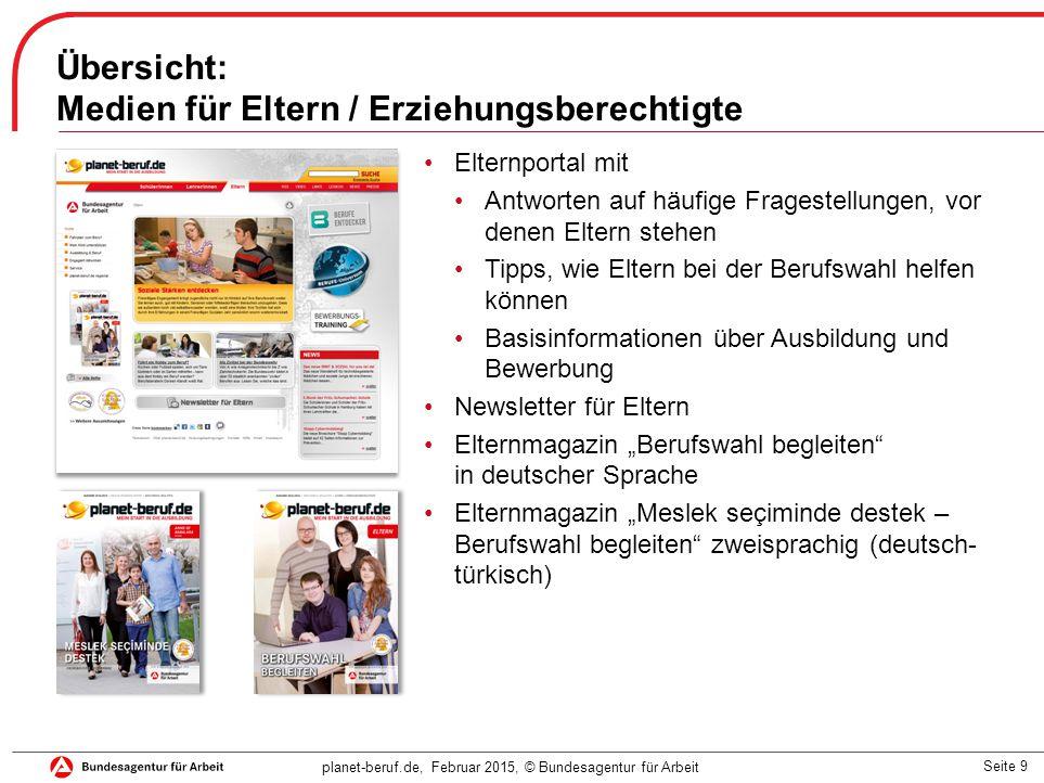 Seite 9 planet-beruf.de, Februar 2015, © Bundesagentur für Arbeit Übersicht: Medien für Eltern / Erziehungsberechtigte Elternportal mit Antworten auf