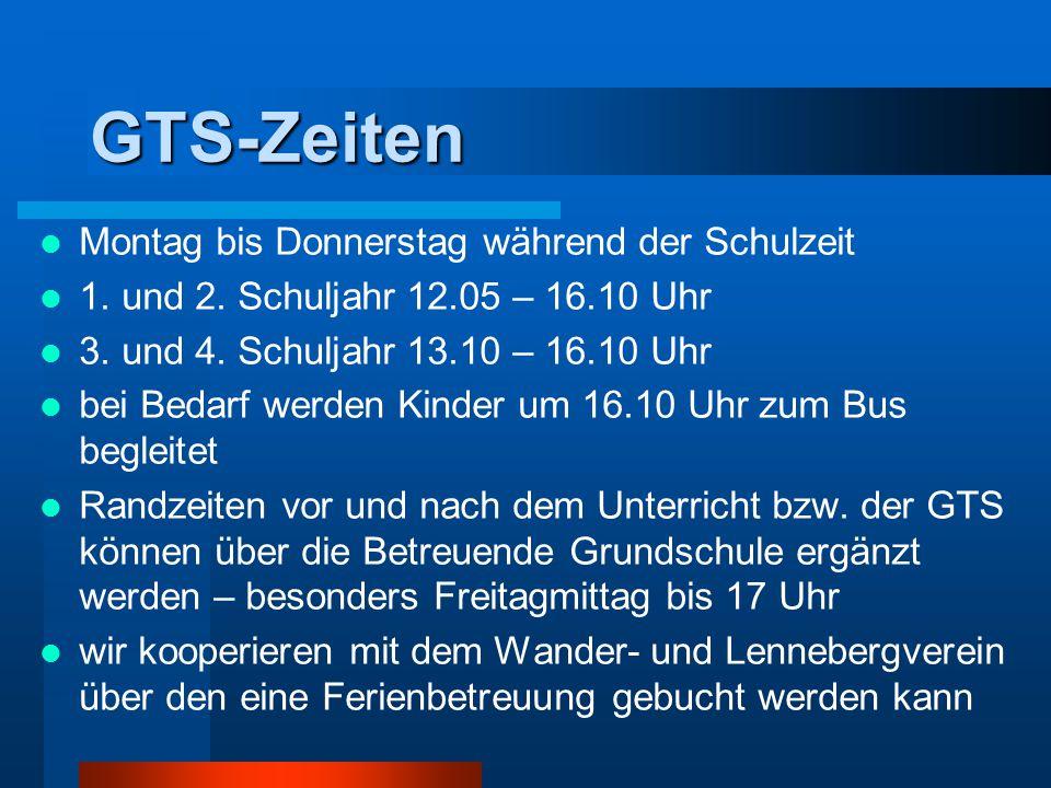 GTS-Zeiten Montag bis Donnerstag während der Schulzeit 1.
