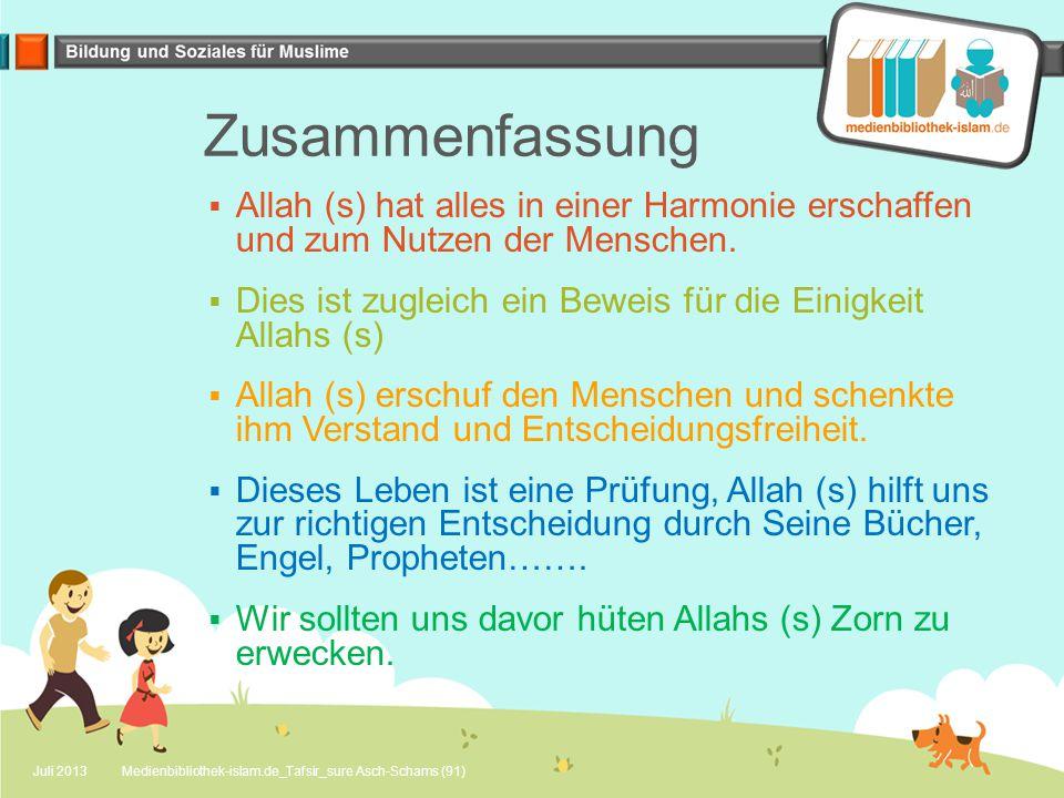 Zusammenfassung  Allah (s) hat alles in einer Harmonie erschaffen und zum Nutzen der Menschen.