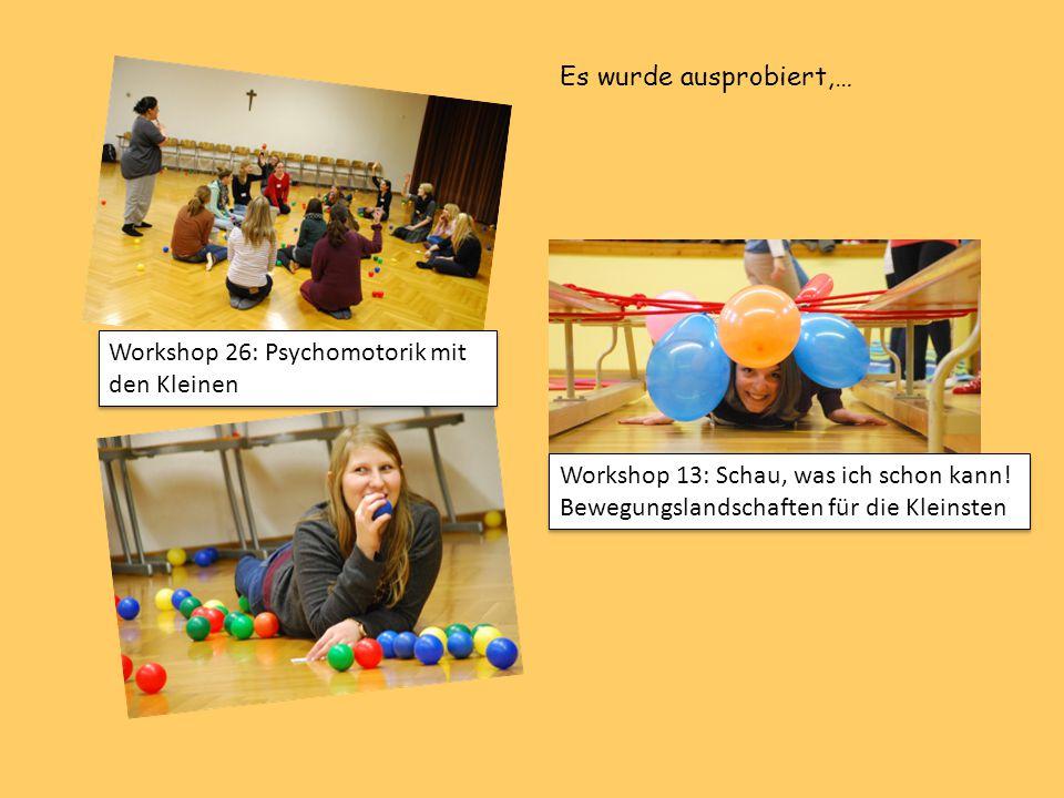 Workshop 26: Psychomotorik mit den Kleinen Workshop 13: Schau, was ich schon kann! Bewegungslandschaften für die Kleinsten Es wurde ausprobiert,…